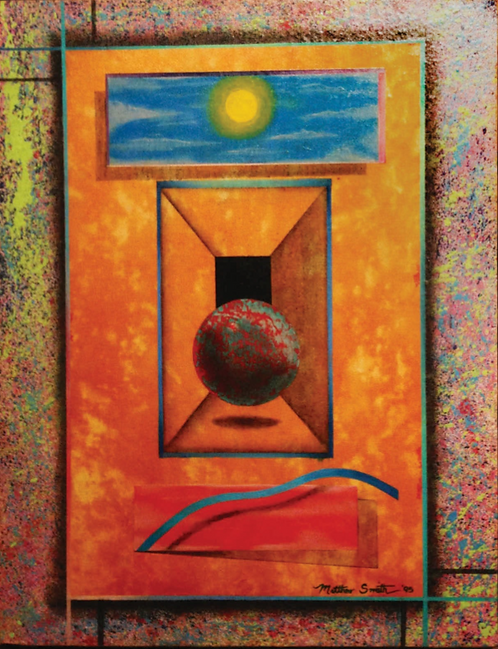 Untitled - Red/Teal Orb with Sun and Sky by Matthew Smith
