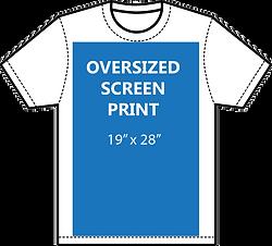 Oversize screen print size