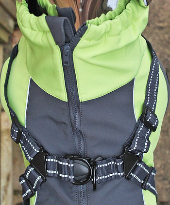 High visibility dog jacket with harness strap