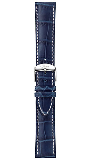 Sinn cow hide strap, marine blue, alligator embossing, white stitching, 22mm