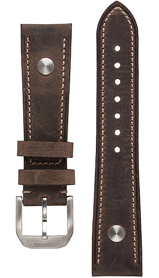 Hanhart calfskin leather band, dark brown, 22mm