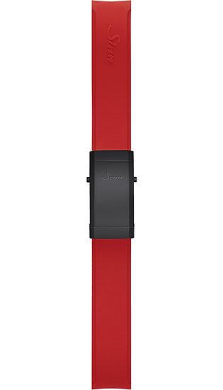 Sinn Silicone strap, red, Tegimented® black steel deployment clasp, 22mm