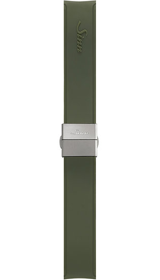 Sinn Silicone strap, green, steel butterfly clasp, 22mm
