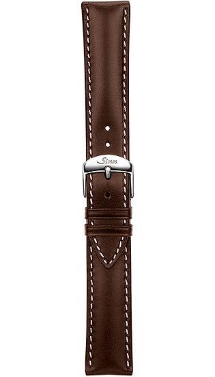 Sinn cow hide strap, mocha, softened, white stitching, 20mm