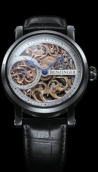 Benzinger 3/4 Skeleton Floral Black