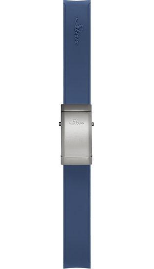 Sinn Silicone strap, blue, Titanium deployment clasp, 22mm