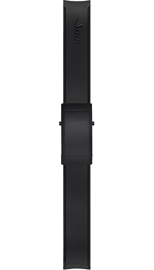 Sinn Silicone strap, black, Tegimented® black steel deployment clasp, 22mm