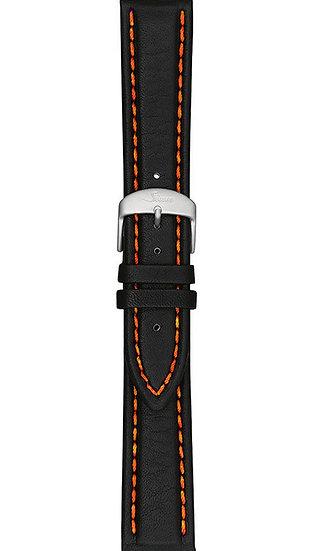 Sinn cow hide strap, black, orange stitching, 20mm