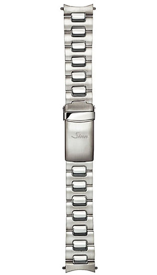 Sinn stainless steel band, two-link, satinised & polished, 20mm
