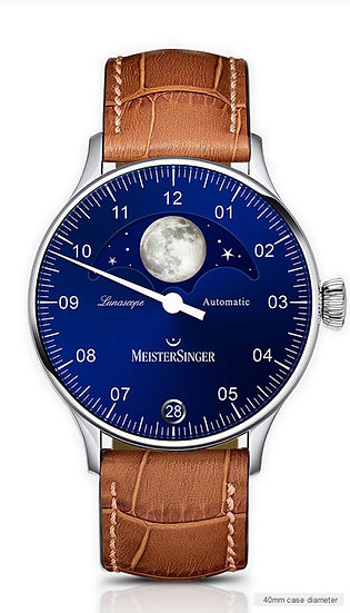 MeisterSinger Lunascope Sunburst blue – silver moon LS908