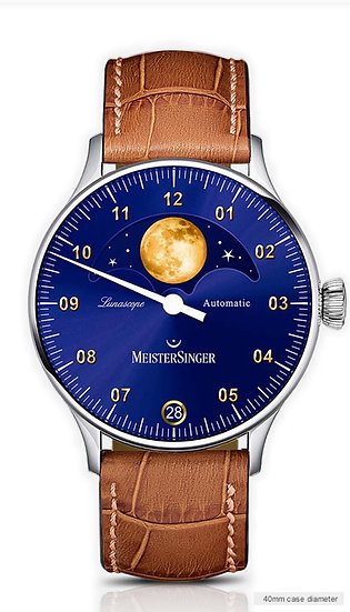 MeisterSinger Lunascope Sunburst blue – gold moon LS908G