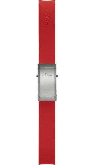 Sinn Silicone strap, red, Tegimented® steel deployment clasp, 22mm