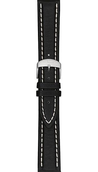 Sinn cow hide strap, black, white stitching, 22mm