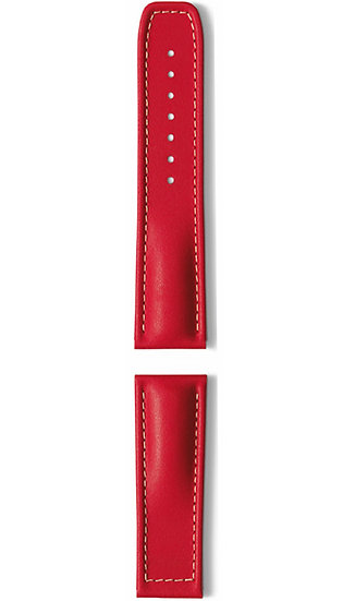 Hanhart calfskin leather band, red, 24mm