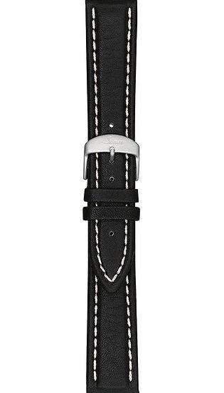Sinn cow hide strap, black, white stitching, 20mm