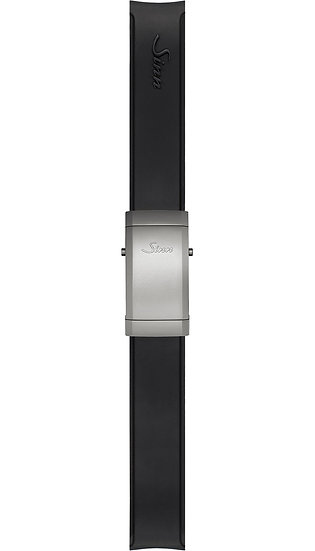 Sinn Silicone strap, black, Tegimented® steel deployment clasp, 22mm