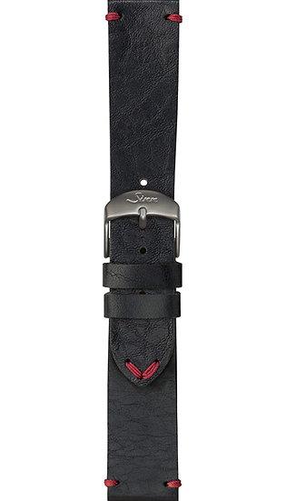 Sinn cow hide strap, vintage look, black, 22mm