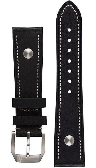 Hanhart calfskin leather band, black, 22mm