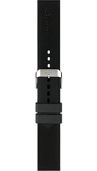 Sinn Silicone strap, black, pin buckle, 22mm