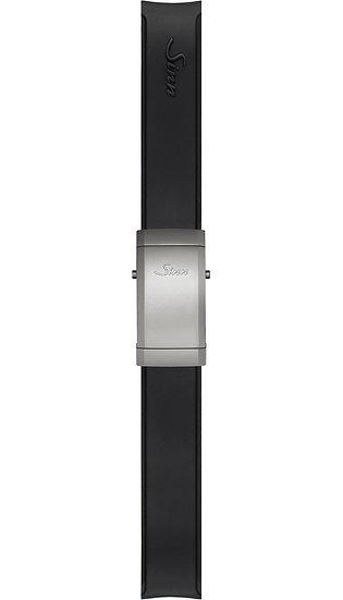 Sinn Silicone strap, black, Titanium deployment clasp, 20mm