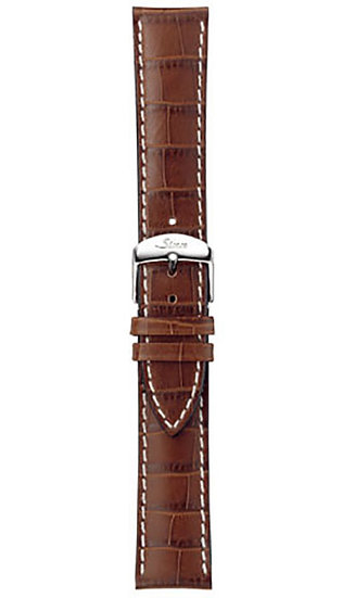 Sinn cow hide strap, cognac, alligator embossing, white stitching, 22mm