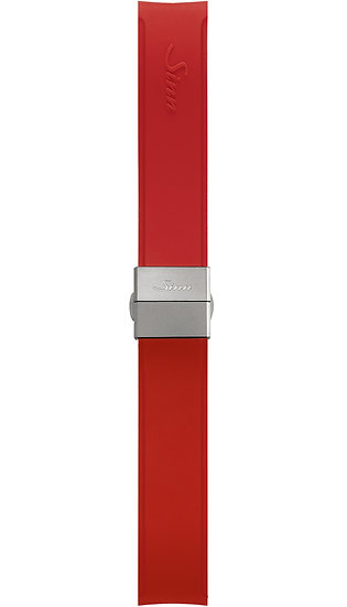 Sinn Silicone strap, red, steel butterfly clasp, 22mm