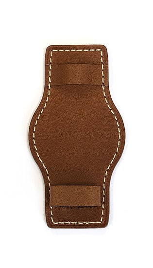 Hanhart calfskin leather lower strap, removable, light brown, 21mm