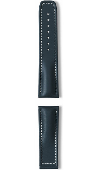 Hanhart calfskin leather band, blue, 24mm
