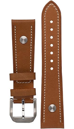Hanhart calfskin leather band, light brown, 23mm
