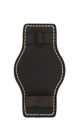 Hanhart calfskin leather lower strap, removable, dark brown, 20mm