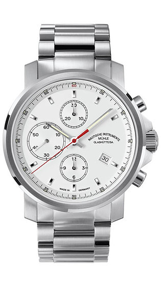 Mühle-Glashütte 29er Chronograph white dial (steel band) M1-25-41-MB