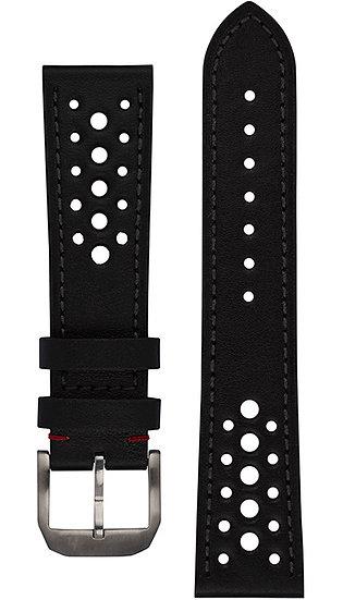 Hanhart calfskin leather band, Racing Design, black, 23mm