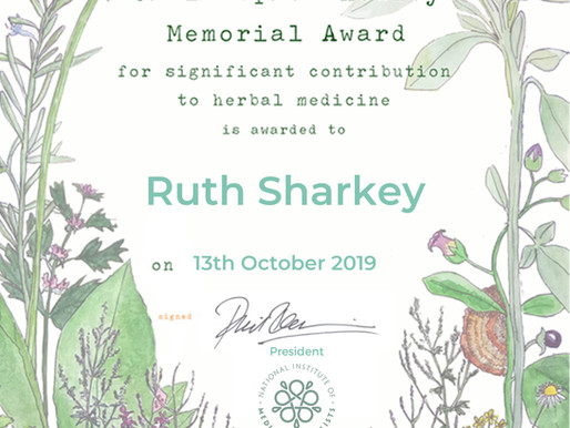 Ruth Sharkey wins international award for services to Herbal Medicine