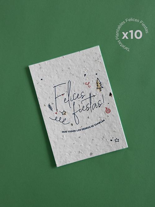 10 Tarjetas Plantables Felices Fiestas