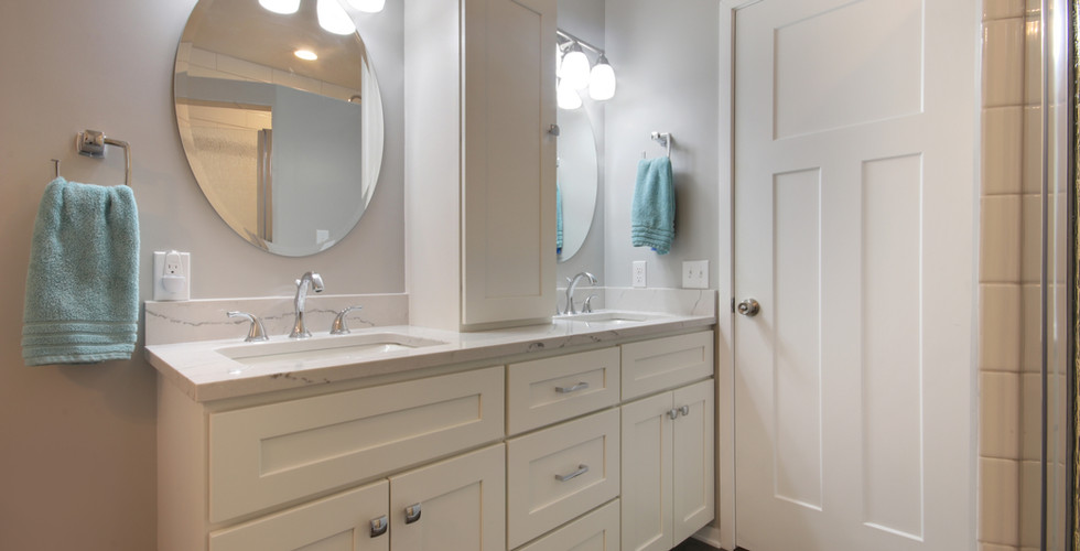 New vanity area of Holland bathroom remodel