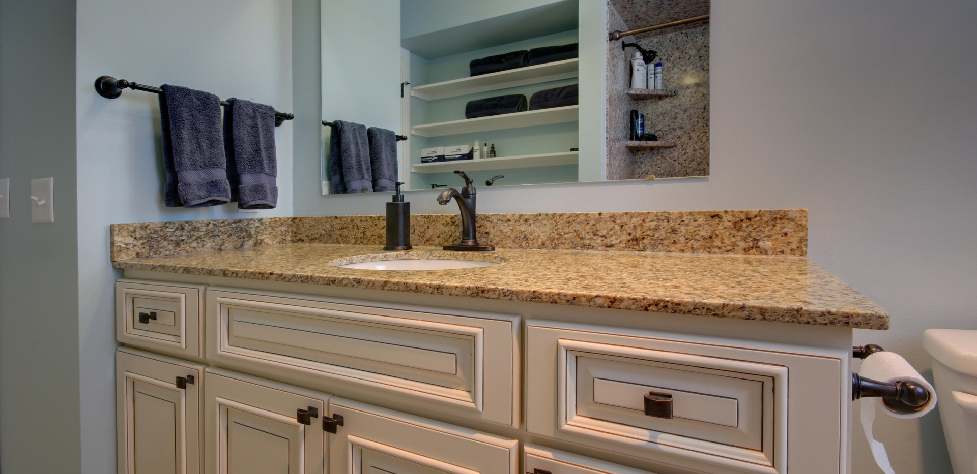 Jenison bathroom remodel with white vanity and granite counter top