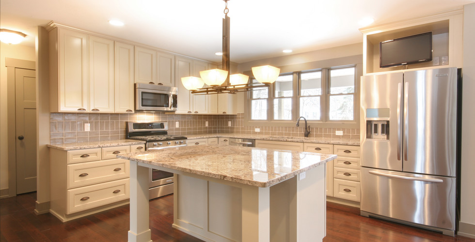 Full view of new kitchen remodel in the Grand Rapids area by Renew Home Improvement remodeling contractor