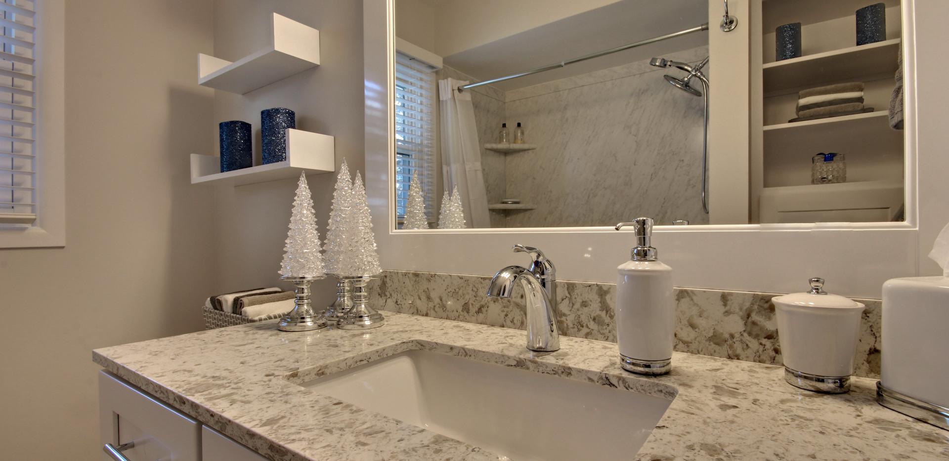 Beautifully decorated full bathroom remodel in Grandville bathroom remodel