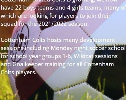 Cottenham United Colts FC are looking for new players for the 2021/2022 season!