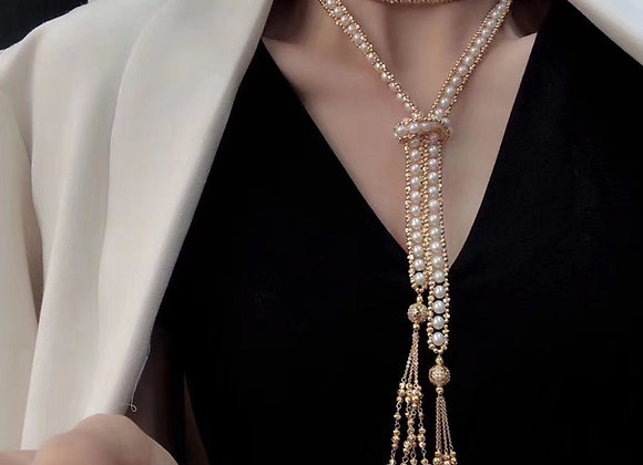 Japanese Freshwater Pearl Long Necklacr Multi-way with Tassels