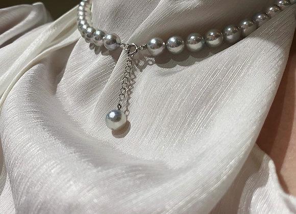 8.5-9mm Silver-Blue Japanese Akoya Necklace
