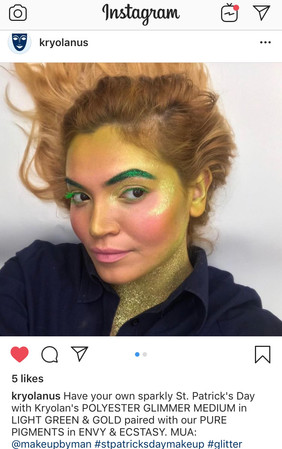 Instagram post to promote a St. Patrick's Day make-up look for KryolanUSA
