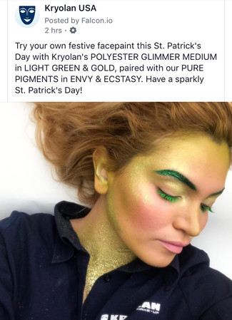 A Facebook post to promote a St. Patrick's Day make-up look for KryolanUSA.