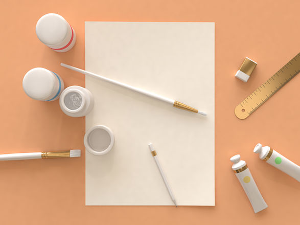 Art Supplies: paints, a ruler, paper, a paintbrush, an eraser, and a pencil are on a orange backdrop.
