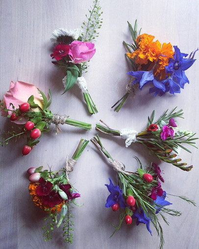 Colourful boutonnieres.