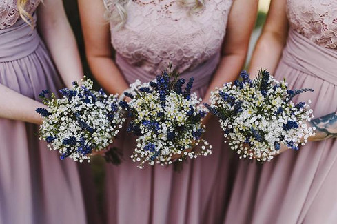 Sweet lavender and gypsophilia bouquets.