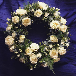 Classic rose filled wreath.