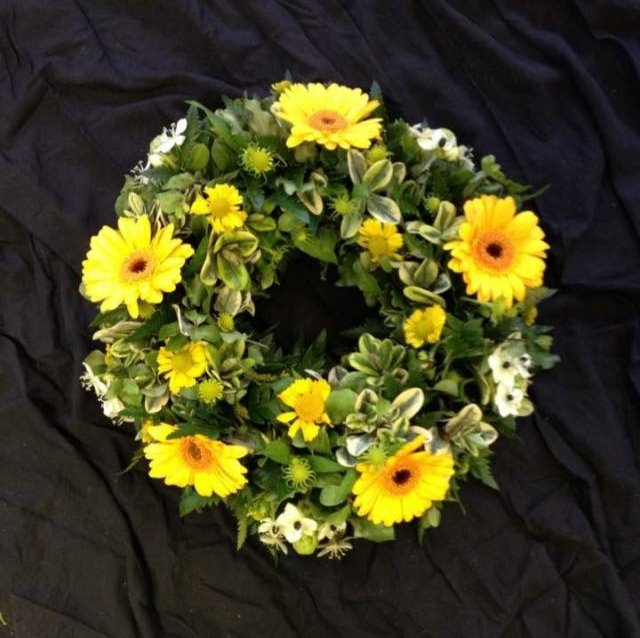 Flower filled wreath.