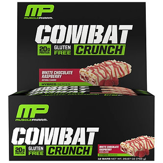MusclePharm - Combat Crunch Protein Bars [1 Box / 12 Bars] White Chocolate Raspberry