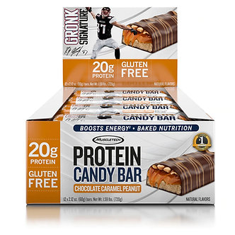 MuscleTech - The Gronk Signature Protein Candy Bar [1 Box / 12 Bars] Chocolate Caramel Peanut